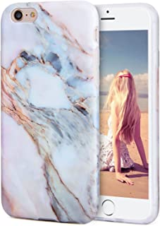 iPhone 6s Plus Case, Imikoko™ Flexible Case Print Crystal for iPhone 6s Plus (5.5 inch) - White Marble Pattern Slim Fit Snap On Hard Shell Back Case for iPhone 6/6S Plus (Pink)