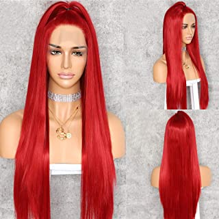 QD-Udreamy Natural Straight Red Color Hair Wigs Lace Front Wigs Heat Resistant Synthetic Hair Wigs for Women Party Wear 24 Inch