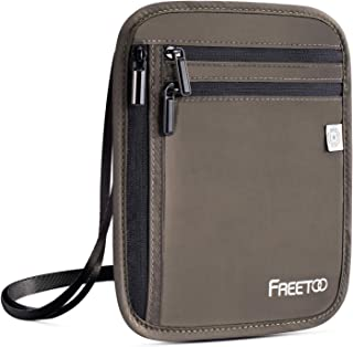 FREETOO Neck Wallet with RFID Blocking,Anti-Theft Passport Holder for Travel (Green)