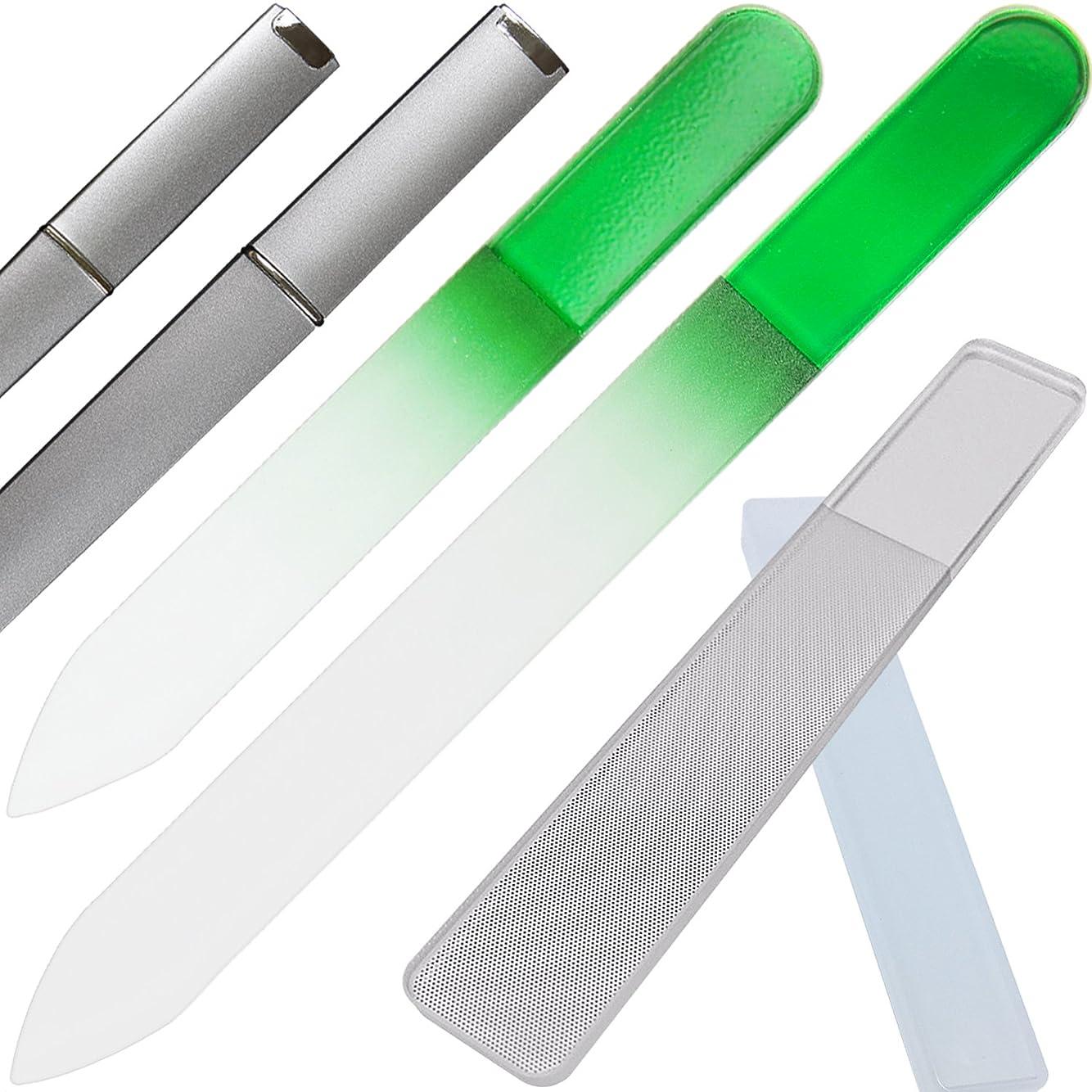 雷雨ありふれた可愛いClarente 爪やすり 爪磨き ガラス製 専用 ケース付 4点セット ネイル ケア