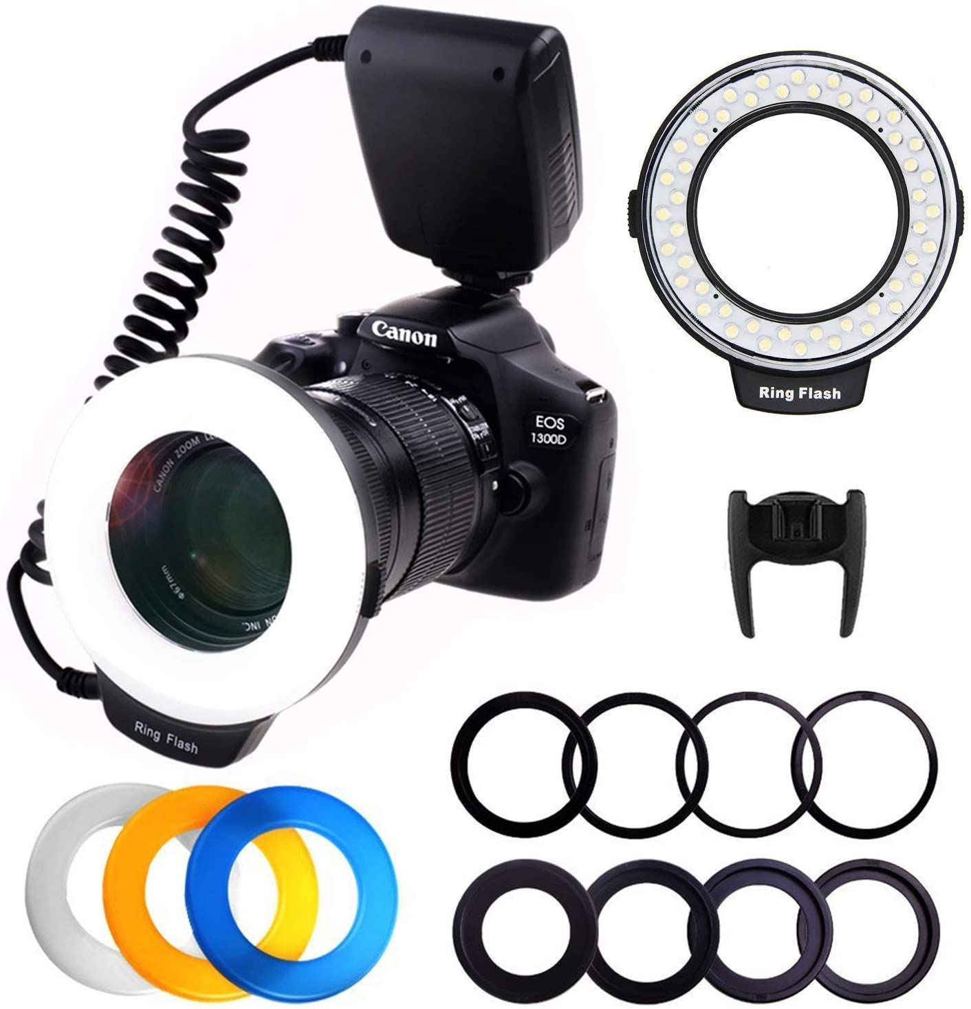 PLOTURE Flash Light with LCD Display Adapter Rings and Flash Diff-Users Works with Canon Nikon and Other DSLR Cameras