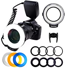 PLOTURE Flash Light with LCD Display Adapter Rings and Flash Diff-Users Works with Canon..