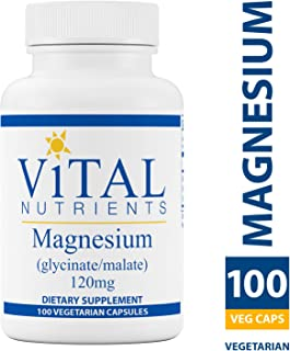 Vital Nutrients - Magnesium (Glycinate/Malate) 120 mg - Magnesium for Sensitive Individuals - Supports Heart Health and Calcium Absorption - 100 Vegetarian Capsules per Bottle