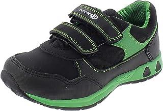 Geox Boys' PAVLIS Sneaker Dual Riptape Straps, Blck, Black Green, 20 M EU Toddler (4.5 US)