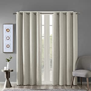 SUN SMART Maya Blackout Curtain Patio Single Window, Textured Heatherd Print, Grommet Top Living Room Decor Thermal Insulated Light Blocking Drape for Bedroom and Apartments, 50x95, Taupe