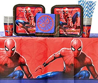 Spiderman Party Supplies Pack for 16 Guests | Includes Paper Straws, Dinner Plates, Luncheon Napkins, Cups, and Table Cover | Spiderman Birthday Party Supplies | Superhero Birthday Party Supplies
