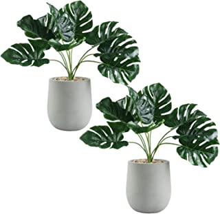 U'Artlines Artificial Plastic Mini Plants Topiary Shrubs Fake Plants with Gray Pot for Bathroom,House Decorations (2pcs, 1 Style)