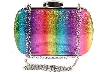 Women Rainbow Crossbody Chain Bag Wallet for Wedding Evening Party Clutch Purse Handbag