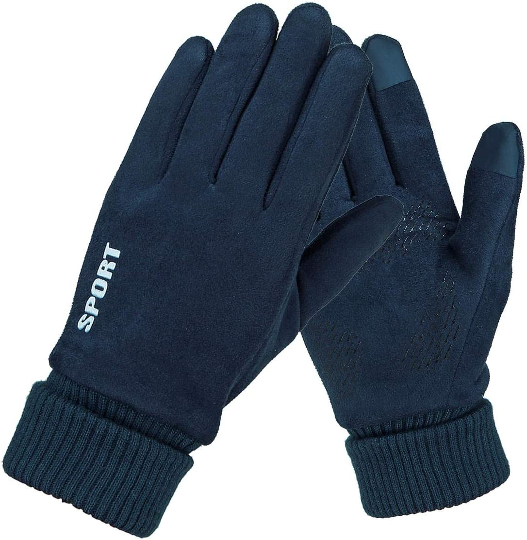Lupovin-Keep Warm Womens Mens Winter Suede Gloves Touch Screen Windproof Thermal Quick Outdoor Drive Skiing Gloves Mittens Non-Slip (Color : Navy Blue)