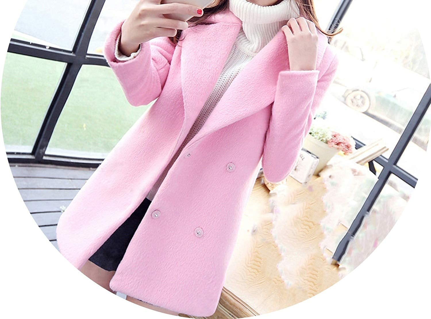 Casual Fashion Warm Women Long Woolen Coat Covered Button Solid Women's Jacket Loose Long Cashmere Coat and Jacket