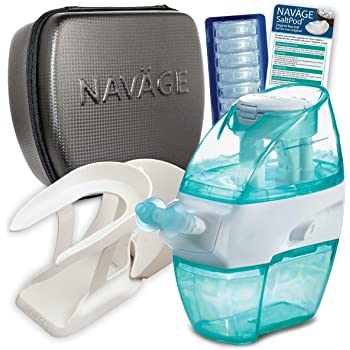 Navage Nasal Care Deluxe Bundle: Naväge Nose Cleaner, 40 SaltPod Capsules, Countertop Caddy, and Travel Case. 148.85 if Purchased Separately. You Save 38.90 (Black). for Improved Nasal Hygiene