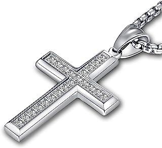 Men's Cross Necklace 316L Stainless Steel Jesus Ankh...