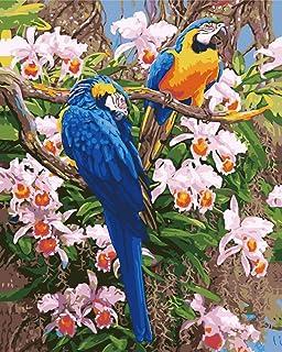 Pintura al óleo digital 3D diy pintura al óleo digital sin marco para colorear pintado a mano sala de estar decoración del dormitorio pintura King Kong blue loro pegatinas de pared, carteles, ofi
