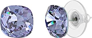 Devin Rose Cushion Solitaire Stud Earrings for Women in Stainless Steel made with Swarovski Crystals (Various Colors)