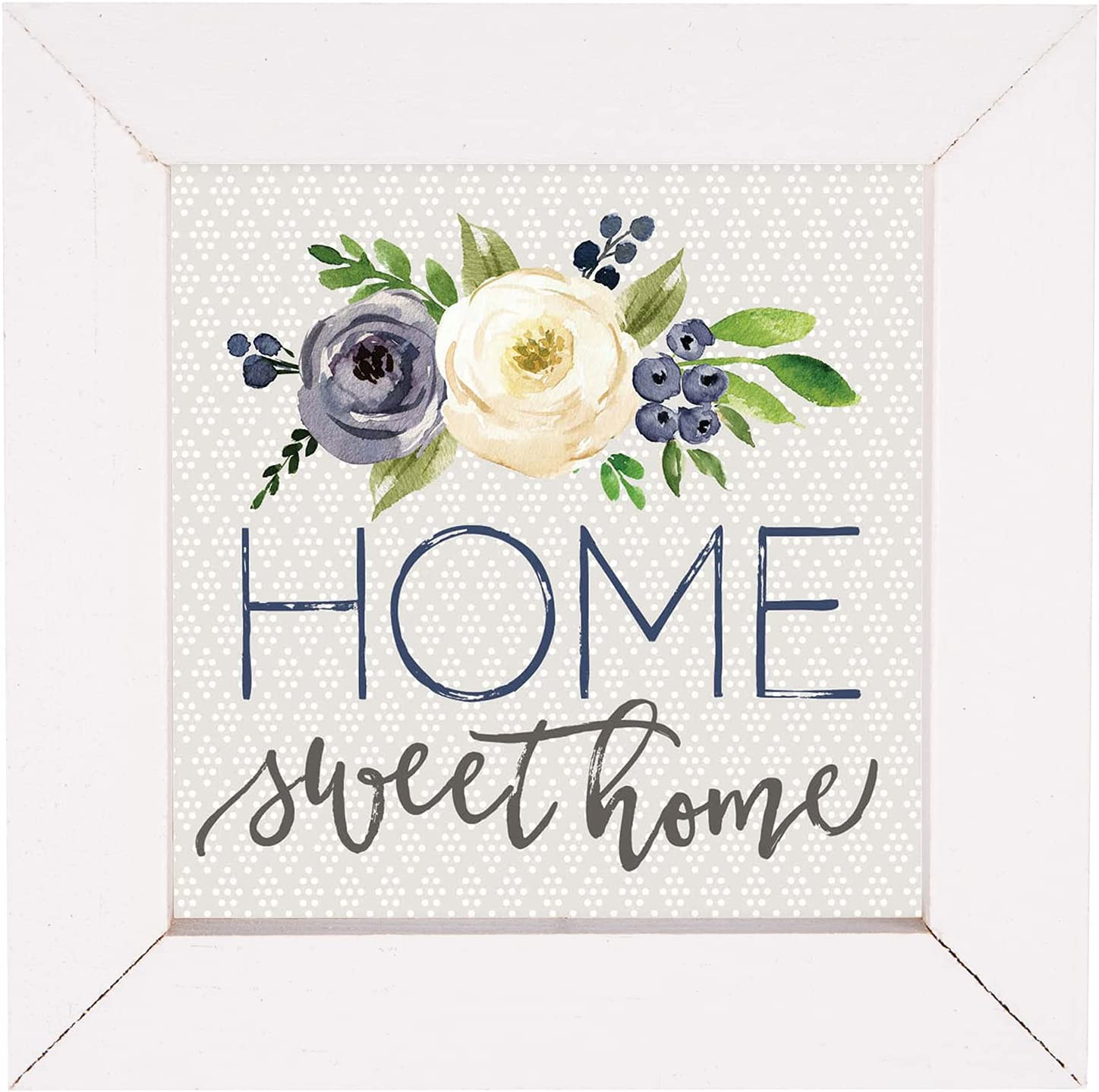 P. Graham Dunn Home Sweet Home Floral White 5 x 5 Pine Wood Decorative Framed Art Plaque