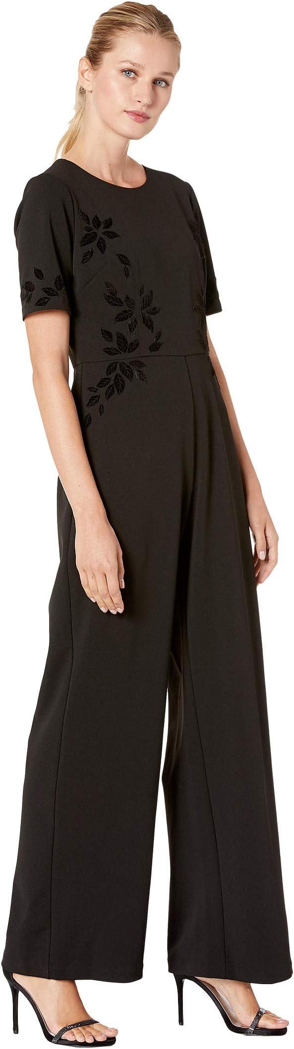 Adrianna Papell Velvet Applique Crepe Jumpsuit