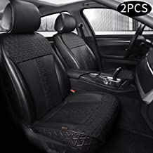 Auto Newer Leather PU Car Seat Cover, Luxury Universal Front Car Seat Cushion, Full Wrapped Edge Waterproof Auto Interior Accessories, Universal Fit for 95% Cars,SUV,Trucks(2PCS,Black)