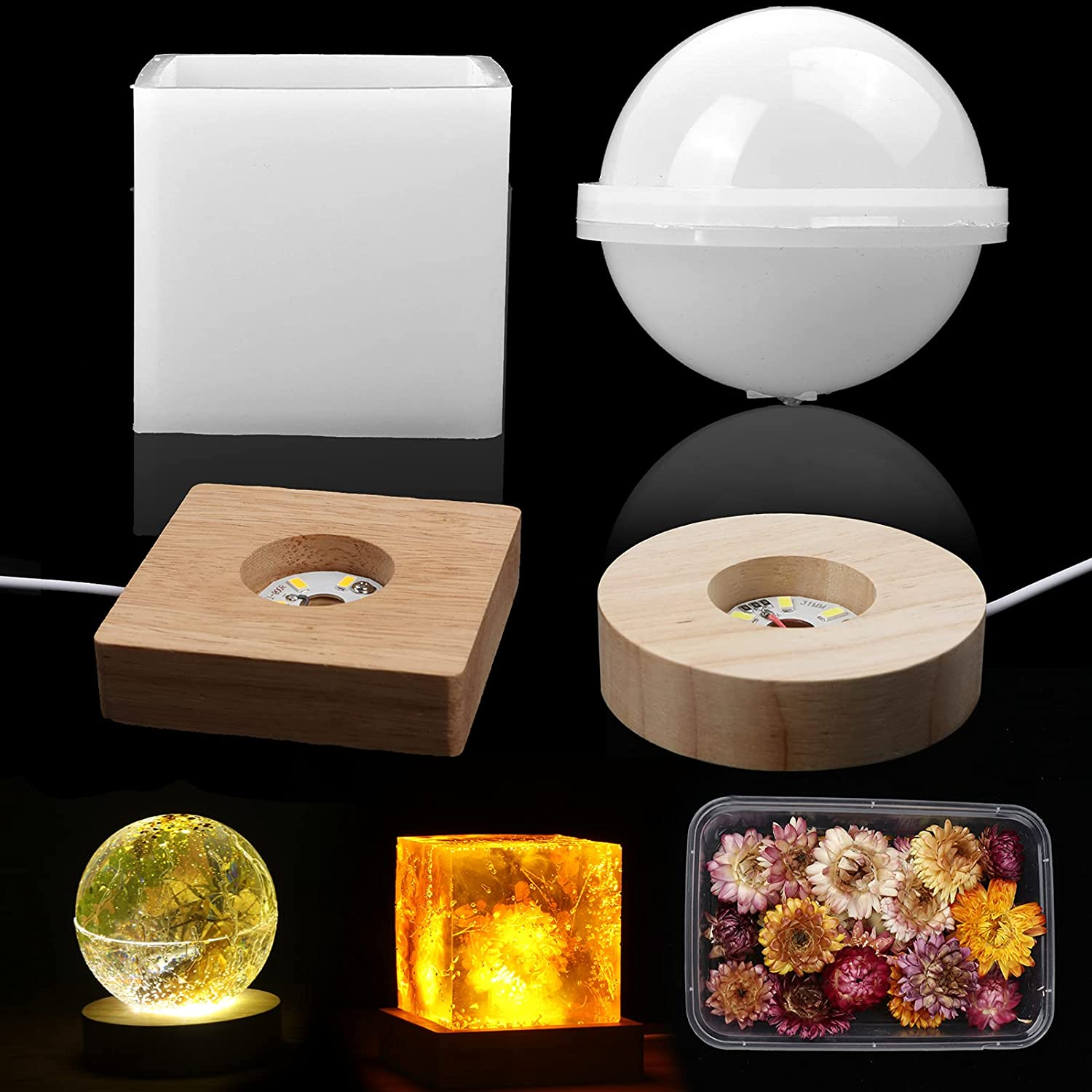 Light Resin Mold Set Sphere Square Silicone 2 and Over item handling Lamp Spasm price