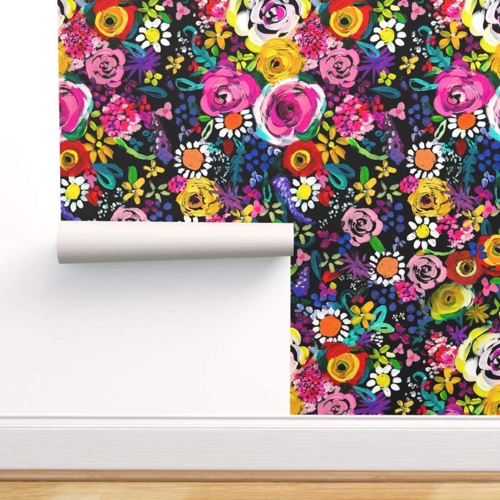 Spoonflower Peel Indianapolis Mall and Stick Colorful Cheap mail order specialty store Removable Floral Wallpaper