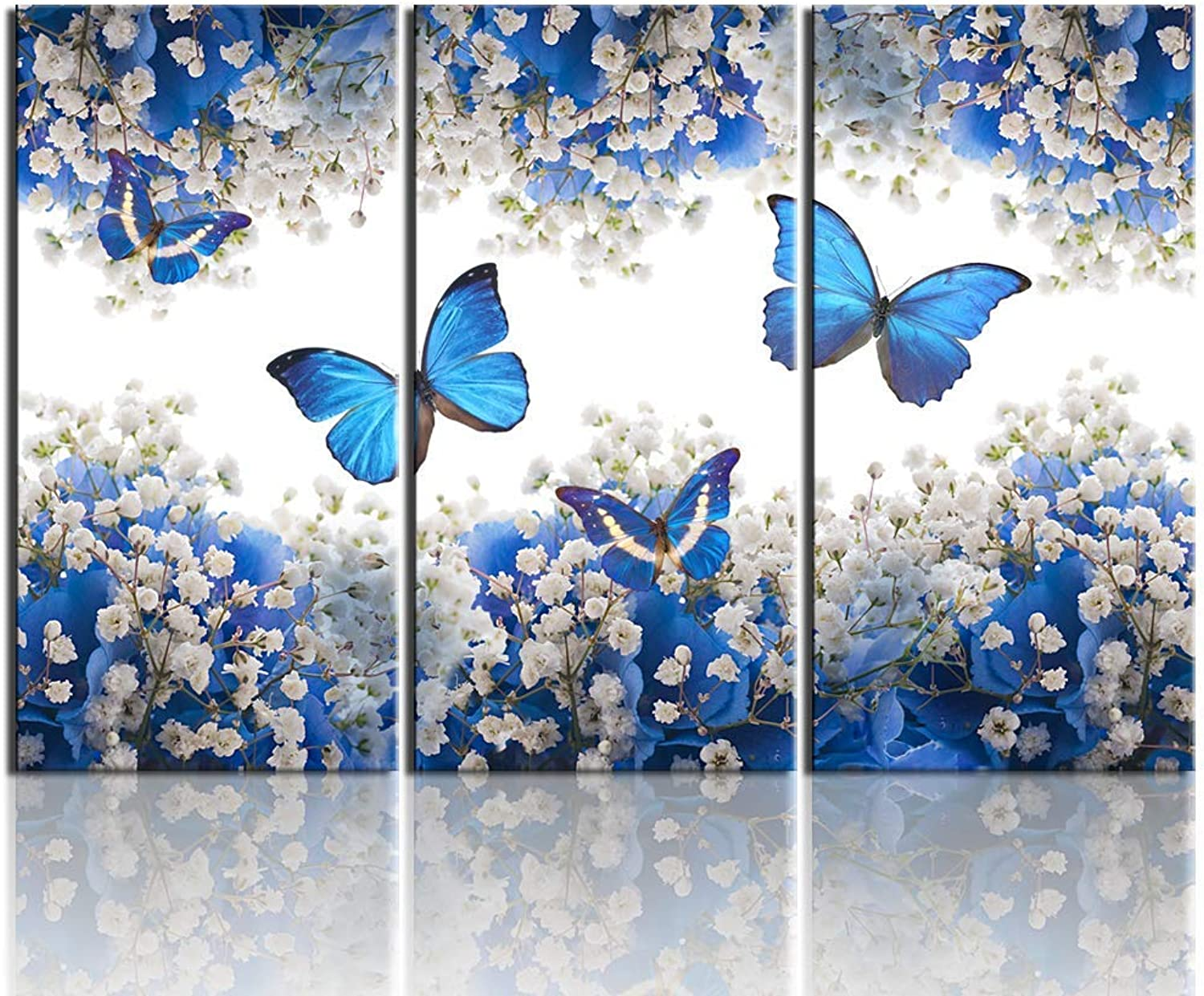 Biuteawal - 3 Panel Canvas Print bluee Butterfly Wall Art Flower Painting on Canvas Contemporary Artwork for Home Living Room Bedroom Wall Decor Ready to Hang