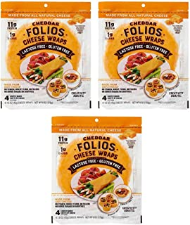 Folios 100% All Natural Cheese Wraps Cheddar 3 Pack