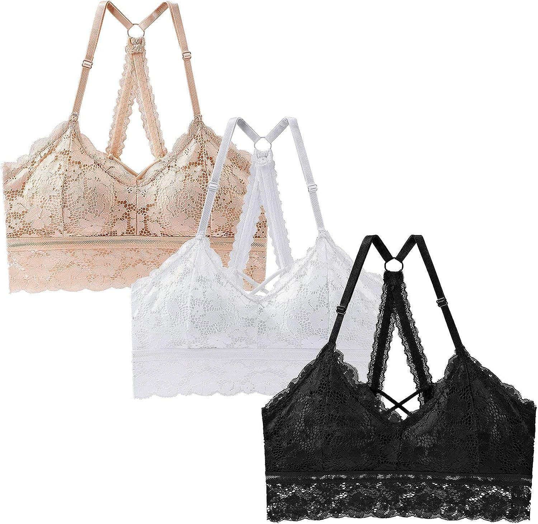 1/3 Pcs Women Floral Lace Cutout Strappy Halter Lingerie Bras,Lightweight Push Up Stretch Padded Bralette Underwear