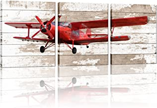 3 Pieces Canvas Wall Art Red Vintage Propeller Aircraft Picture With Wooden Background Home Decor Framed and Stretched Rea...