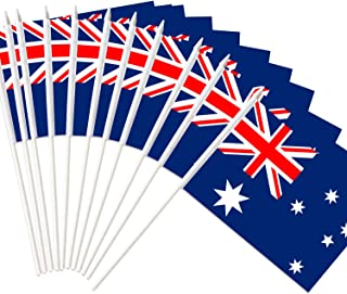 Anley Australia Stick Flag, Australian 5x8 inch Handheld Mini Flag with 12