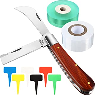 9 Pieces Grafting Garden Knife with Grafting Tape and Plant Labels Set Double Blade Garden Knife for Grafting Budding