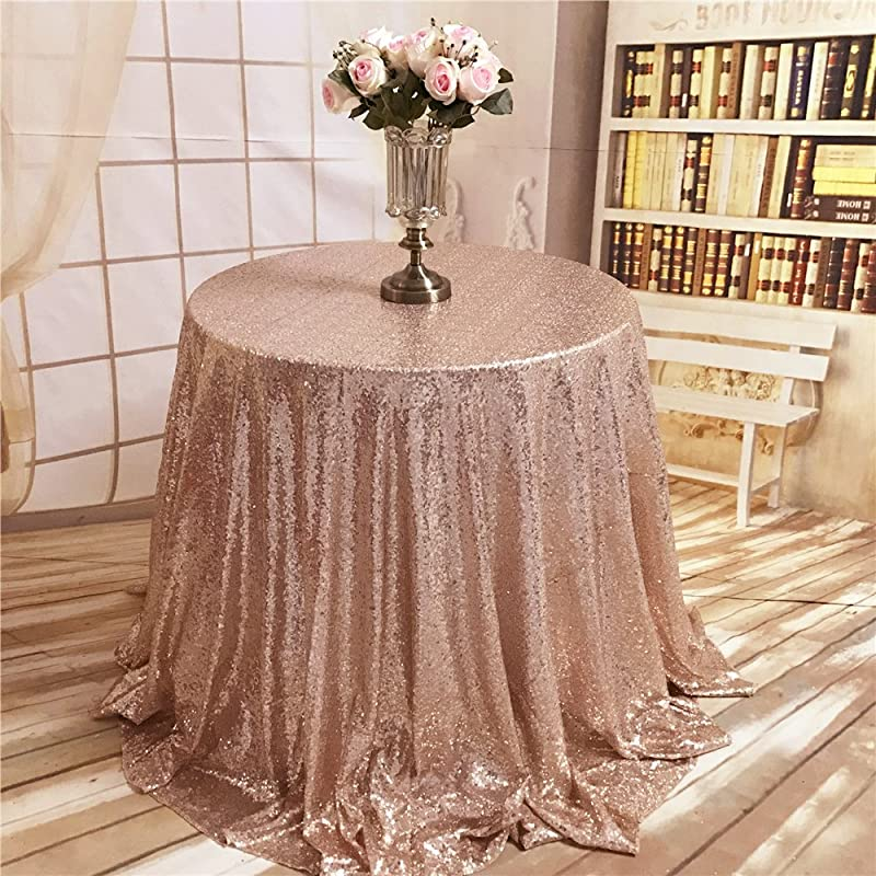 ShiDianYi TRLYC 72 Inch Christmas Rose Gold Round Sequin Tablecloth For Wedding Party Banquet