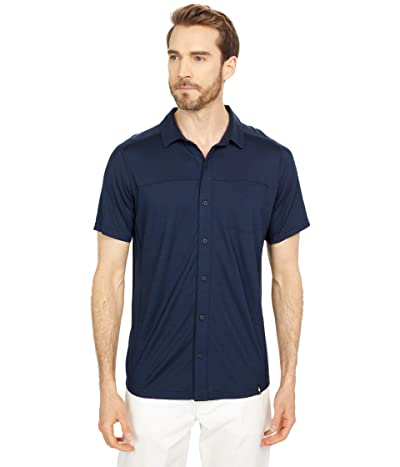 Smartwool Merino Sport 150 Short Sleeve Button Down (Deep Navy) Men