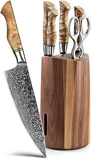 HEZHEN Couteaux de Cuisine 7 Pièces, Pain Santoku en Acier Damas traité thermiquement sous Vide et Acier Japonais à Haute ...