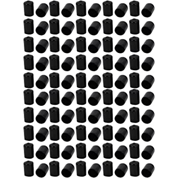 sourcing map 100 Stück 12mm PVC Vinyl Endkappe Bolzen Gewinde Schutz Abdeckung Schwarz de