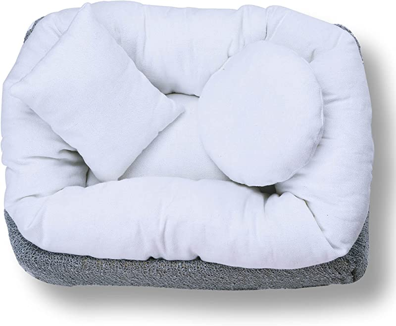 Sunmig 4 PC Newborn Baby Photography Wheat Donut Posing Pillow Basket Filler Baby Photo Prop White
