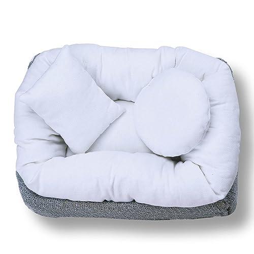Sunmig 4 PC Newborn Baby Photography Wheat Donut Posing Pillow Basket Filler Baby Photo Prop White