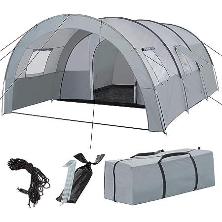 Campingzelt Familienzelt Tunnelzelt mit 2 Schlafkabinen Zelt 4-6 Personen SPF30+