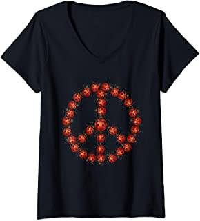 Womens Ladybugs Peace Sign Kindness Love and Good Luck V-Neck T-Shirt