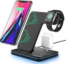Wireless Charging Station, 3 in 1 Qi Fast Charger for Apple Watch 1 2 3 4 5/Airpods Airdots, Wireless Charger for iPhone 11/11 Pro/XS Max/XS XR Plus Samsung S10 S9 S8 S7 and Qi-Certified Phones