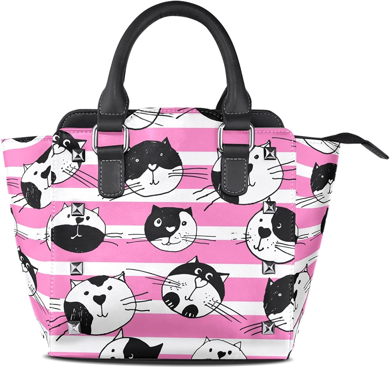 My Little Nest Women's Top Handle Satchel Handbag Cute Cats Ladies PU Leather Shoulder Bag Crossbody Bag