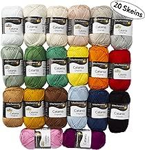 20 Skein SMC Catania Originals Yarn, 100% Cotton, Total 35.2 Oz Each 1.76 Oz (50g) / 136 Yrds (125m), Fine-Sport 2, Assorted Colors Yarn