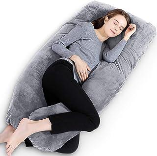Gluckluz Maternity Pillow Pregnancy Full Body U Shaped Pillow Case Velvet with Zipper Removable Cover for Pregnant Women N...