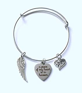 ON SALE - A piece of my heart is in heaven Charm Bracelet, Sympathy Jewelry, Memorial Gift for Women for Loss of Family Member, Mom, Dad, Aunt, Uncle, Son, Daughter, Mother, Father