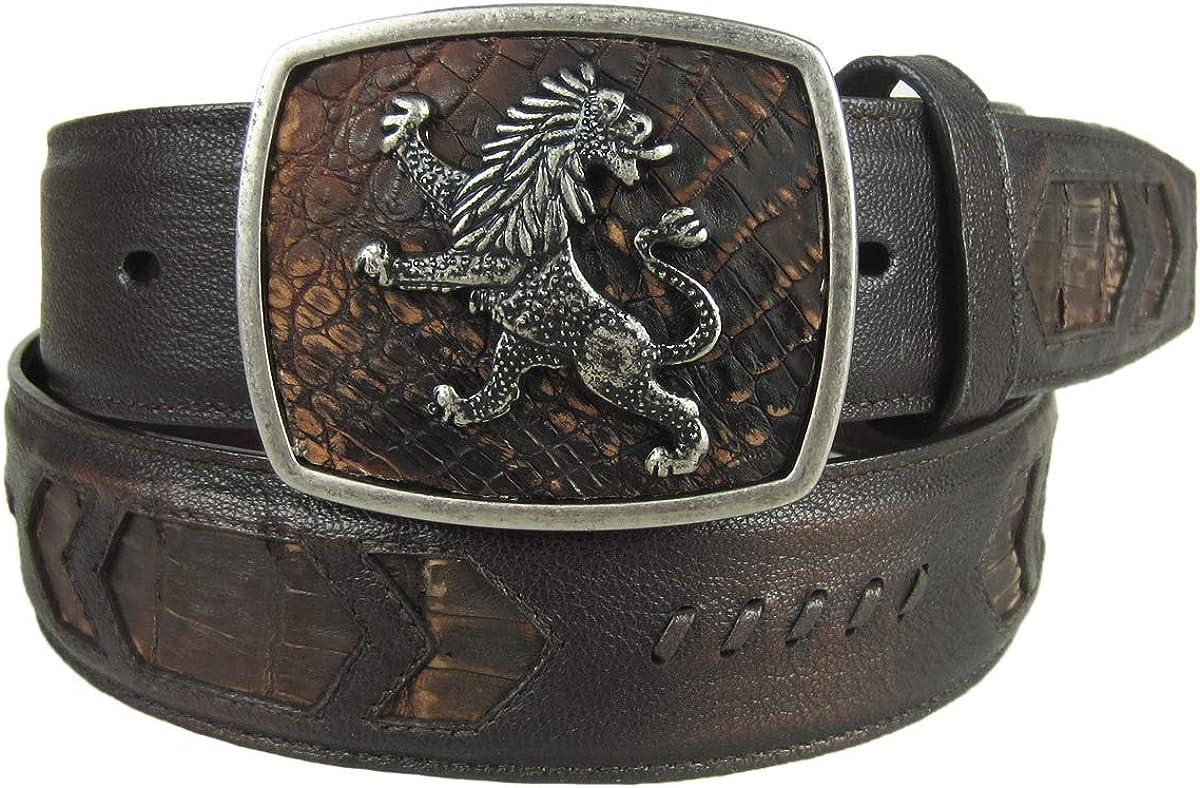 Cuadra Men's Fuscus Belly Woven Inlay Leather Belt - BC115 (CCBM4FP)