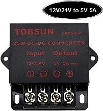 SUPERNIGHT DC Power Step Down Converter Regulator 12V / 24V to 5V 5A 25W Low Voltage Transformer Power Adapter DC-DC Voltage Reducer (5V 5A 25W)