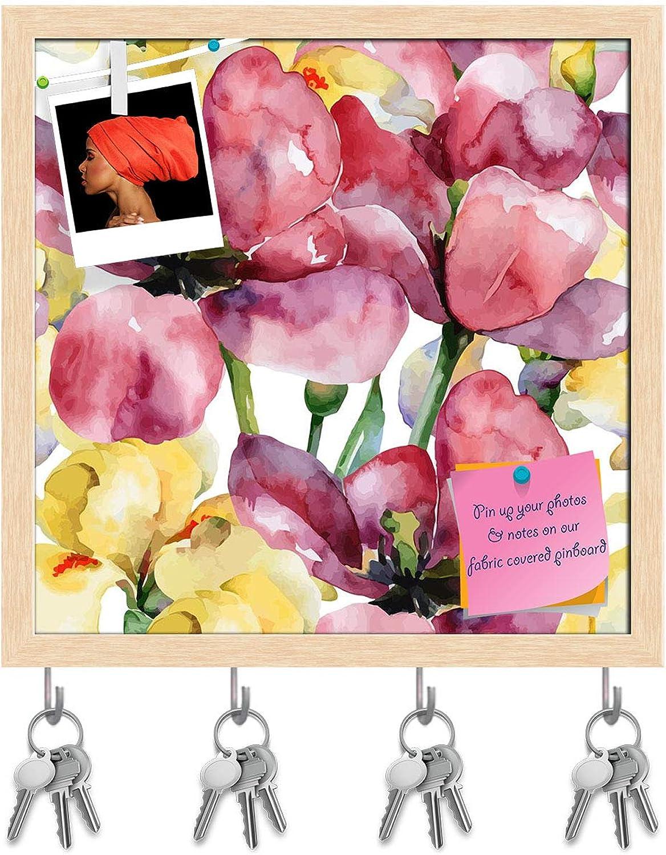 Artzfolio Purple Tulips & Yellow Irises Key Holder Hooks   Notice Pin Board   Natural Brown Frame 8 X 8Inch