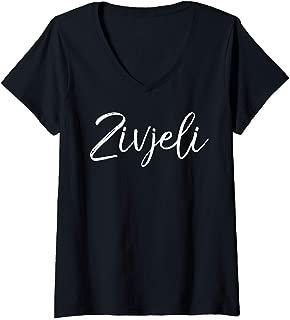 Womens Cheers Drinking Gift Croatian Quote for Women Cute Zivjeli V-Neck T-Shirt