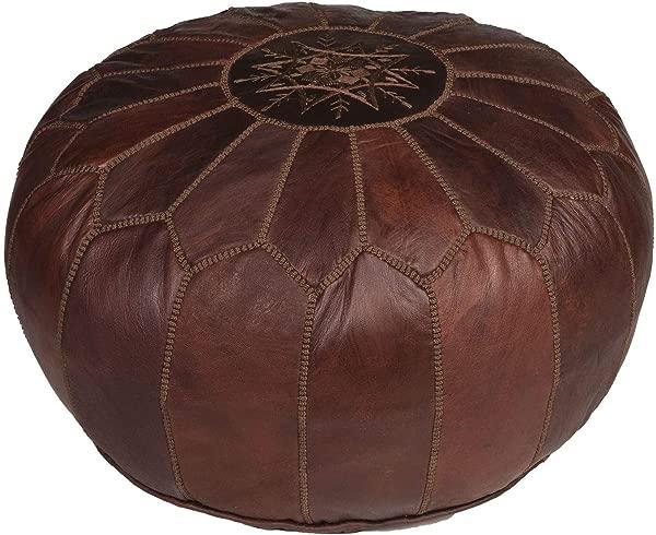 Moroccan Buzz Dark Brown Pouf Brown Stitching Stuffed