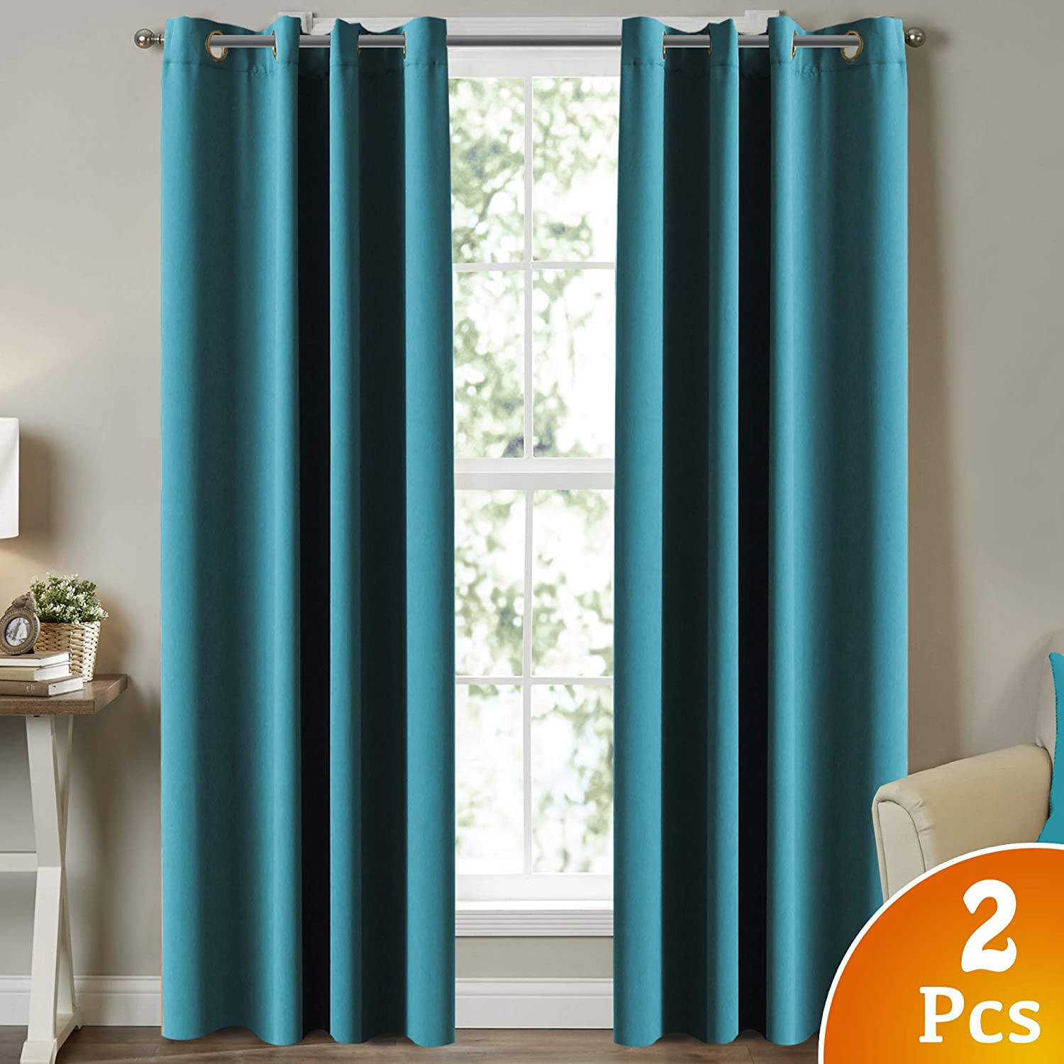 Thermal Insulated Blackout Curtains for Kids Room, Themal Insulated Grommet Nursery & Infant Care Curtains, Extra Long 96  Length Curtains for Patio Door Dining Room, Turquoise bluee