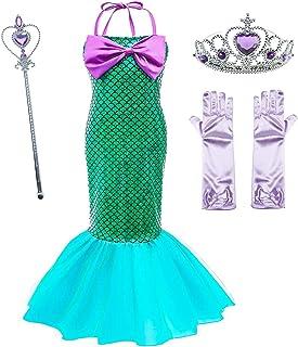 Vestido de Fiesta de Lentejuelas de Disfraces de Princesa Ariel para Niñas con Accesorios para Niños