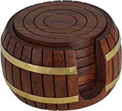 Wooden Round Tea Coasters Set of 6 in Antique Inspired Barrel Holder